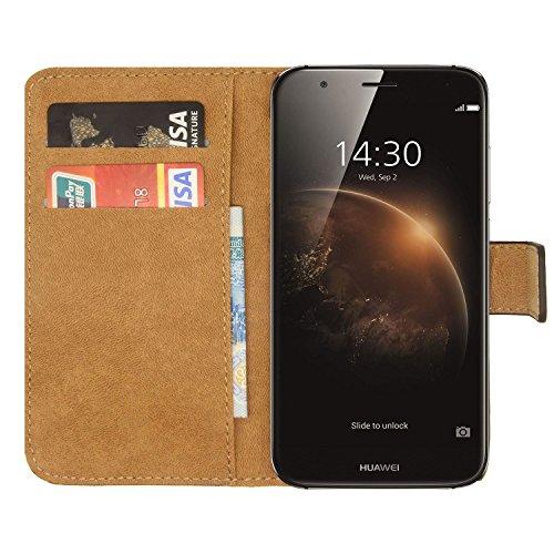 Ambaiyi Flip Echt Ledertasche Handyhülle Brieftasche Hülle Schutzhülle für Huawei GX8 / Huawei G8 Hülle, Schwarz