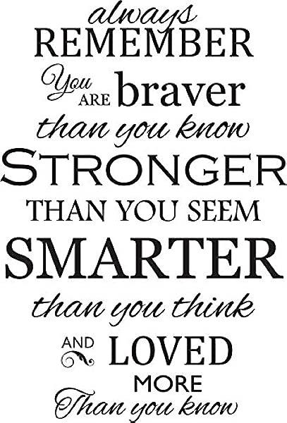 Newclew 永远记住你比你知道的更勇敢,比你想象的更强壮,比你想象的更聪明,可移动的乙烯基墙艺术,鼓舞人心的诗歌引用,家居装饰贴花贴纸