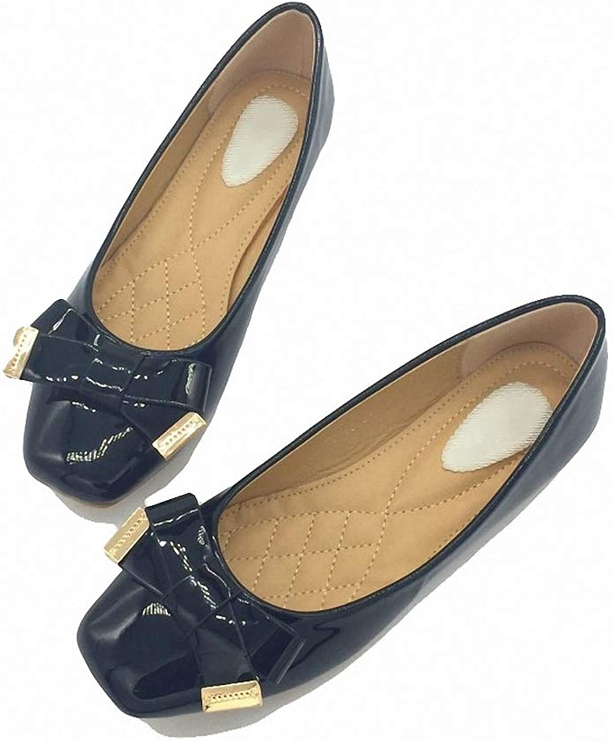 August Jim Women Flats shoes,Slip-On Square Toe Butterfly Knot Comfort Single shoes