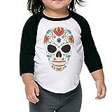 XJBD Kids Boy's&Girl's Sugar Skull 3/4 Contrast Raglan Sleeve Rib Tee Size 4 Toddler