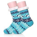 Kids Boys Girls Fuzzy Slipper Socks Soft Warm Thick Fleece lined Christmas Stockings For Child Toddler Winter Home Socks(Blue,8-12 Years)