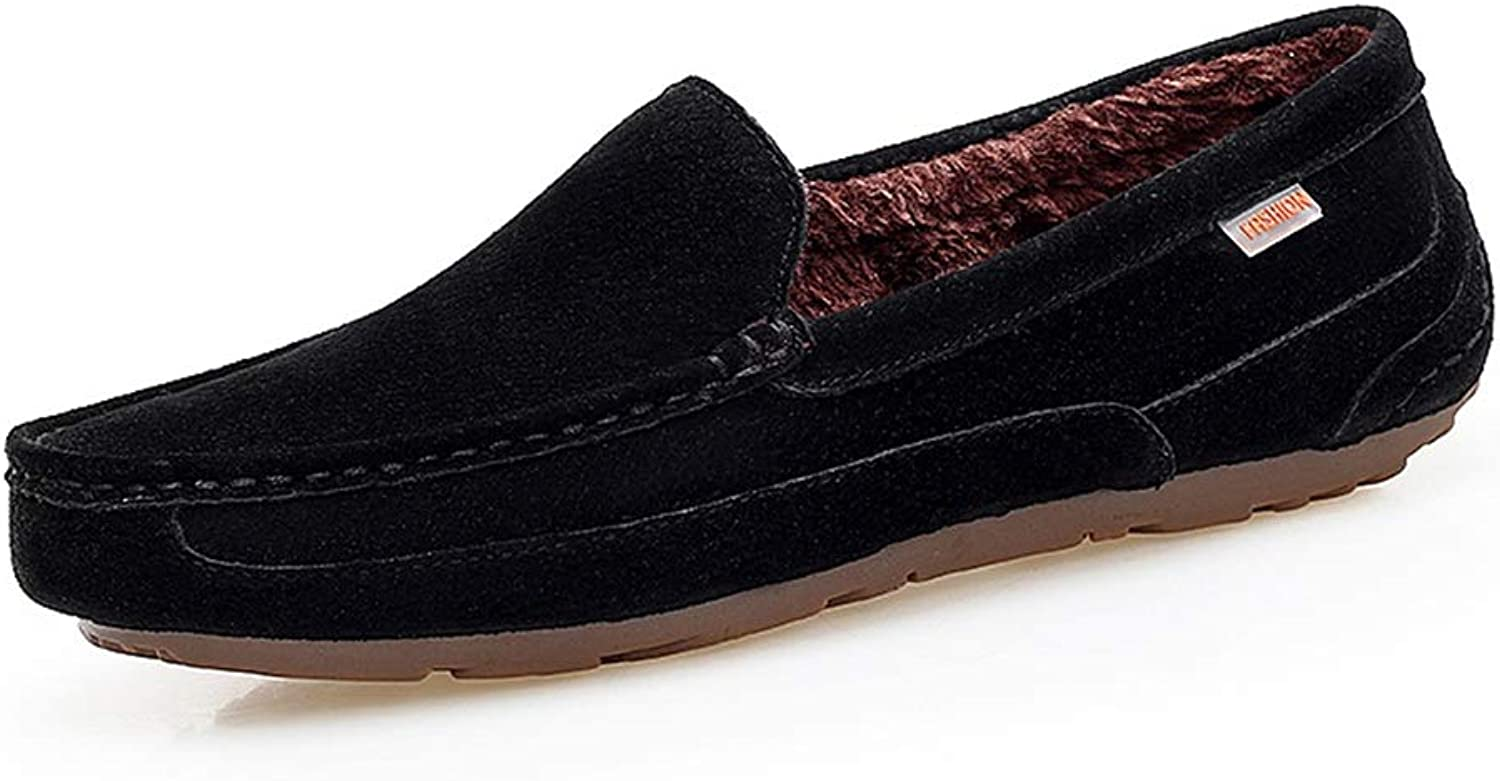 Fashion Driving Loafers Casual Comfortable with Low Top Pure color Winter Faux Fleece Inside Boat Moccasins Men's Boots (color   Black, Size   6.5 UK)