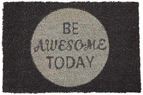 Relaxdays Fußmatte Kokos Spruch BE Awesome Today 40 x 60 cm Kokosmatte mit Rutschfester PVC schwarz Unterlage Fußabtreter aus Kokosfaser als Schmutzfangmatte und Sauberlaufmatte Türvorleger, türkis