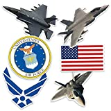 Popfunk U.S. Air Force F-22 & F-35 Fighter Jet and Logos Collectible Stickers