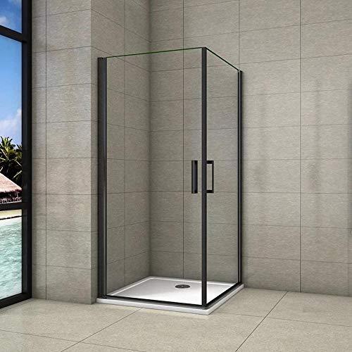 Cabina de ducha, Mampara de esquina, puerta abatible, dos puerta giratoria, perfiles negros, vidrio de templado seguridad, antical, transparente de 8mm 90X90X200cm