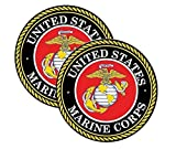 United States Marine Corps Vinyl Sticker Decal (2 Pack) - 4 Inches - for Car Truck SUV Van Window Bumper Wall Laptop MacBook Tablet Cup Tumbler and Any Smooth Surface