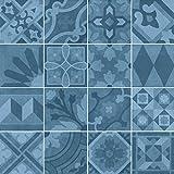 Nais Cerámica para suelos y paredes Colección Antiqua (20x20 cm) - Caja de 1 m2 (25 piezas), Encants Blue
