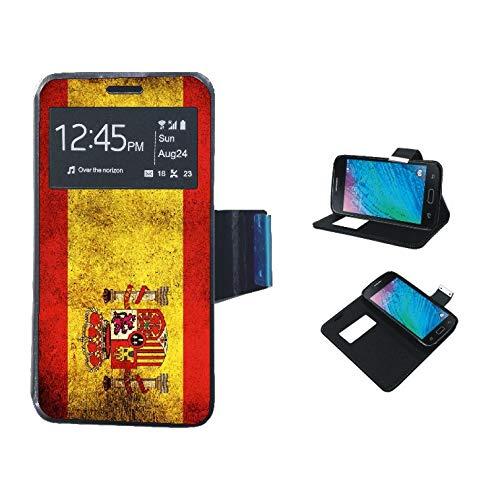 SUPER STICKER Funda de Libro Samsung Galaxy S7 Edge - Flip con Tapa Ventana Color Negro Dibujo Bandera Espana