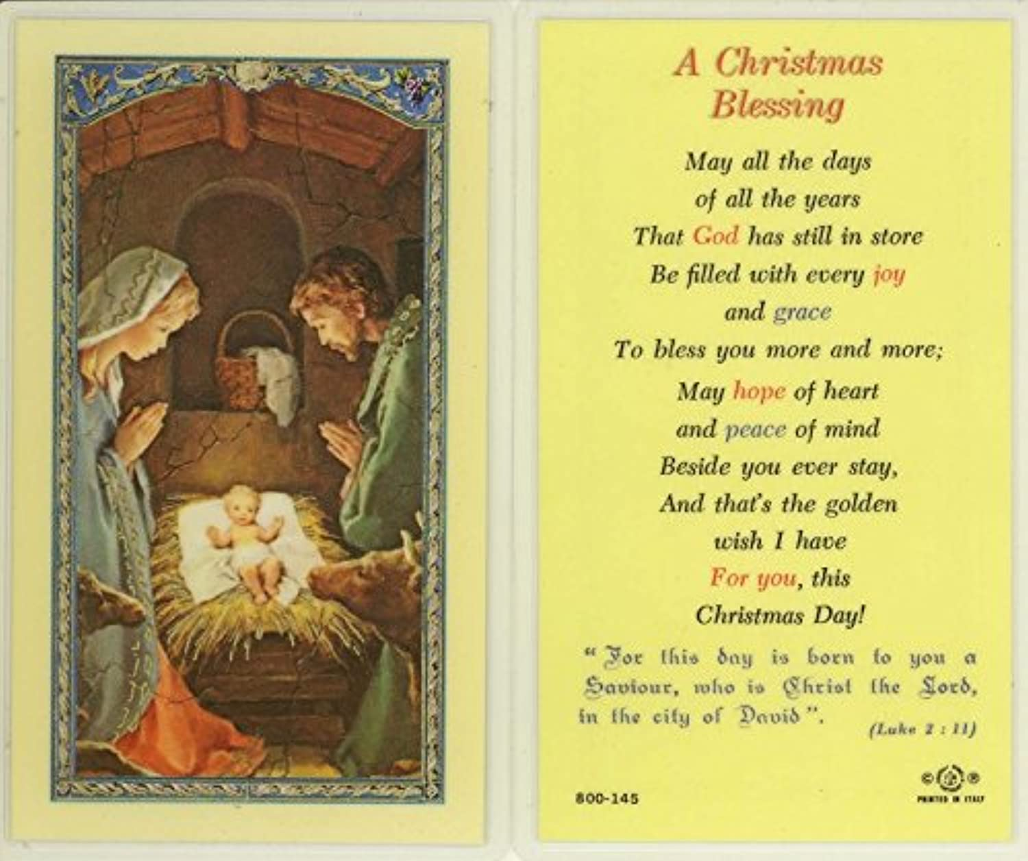 StealStreet SSWJHE24804 a Christmas Blessing, Clear Holy Cards