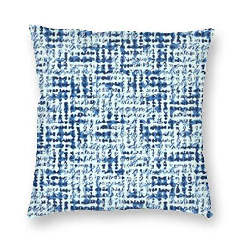Taie d'oreiller carrée en Toile vieillie texturée Bleue BONRI 12 \