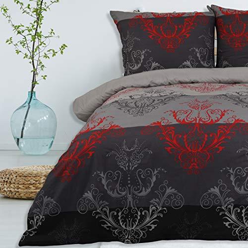 Bettwäsche 3 TLG 200x200 cm Deckenbezug 80x80 cm Kissenbezug 100% Baumwolle Renforce Reißverschluss Bettwäscheset Bettwäschebezug Bettwäscheüberzug, Muster