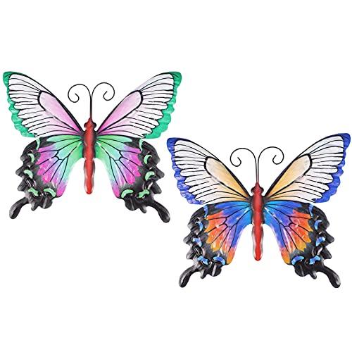Veemoon 2 Piezas de Mariposas de Metal Decoración de Pared en 3D Escultura de Hierro Decoración de Pared Mariposas de Jardín Arte Colgante de Pared para Cocina Decoración de Jardín Al