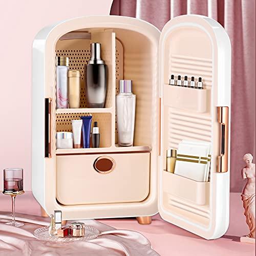 Kacsoo Mini Kühlschrank Kühler & Wärmer 12L Energiesparender professioneller Schönheitskühlschrank zur Aufbewahrung von Make-up mit 5 großen Aufbewahrungsräumen für Schlafzimmer, Auto, Make-up