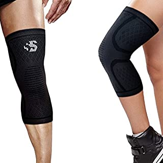 Best Strength Knee Compression Sleeve - Strength Sleeves Brand Knee Support Guaranteed Best Recovery Brace for Knees Wrap for Leg Pain, Patella Knee, Arthritis, Running, Weightlifting, Workout