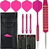 Nodor 22g Pink Brass Darts Set Includes Barrels, Alloy Stems, Flights, Wallet, Checkout Card, FREE UK POSTAGE