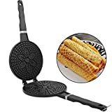 Waffle Cone Maker,Multifunctional Double-sided Homemade Ice Cream Crepe Maker,Nonstick Easy to Clean Crepe Pan Waffle Egg Roll Pan Bakeware Waffle Machine for all Cooktop Surfaces Nonstick Plates