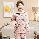 DFDLNL Pijamas de algodón Acolchados con Animales para Mujer, Traje Grueso de Tres Capas para Mujer, Pijama de Manga Larga con Solapa, Conjunto de Ropa de Dormir de Invierno XXL