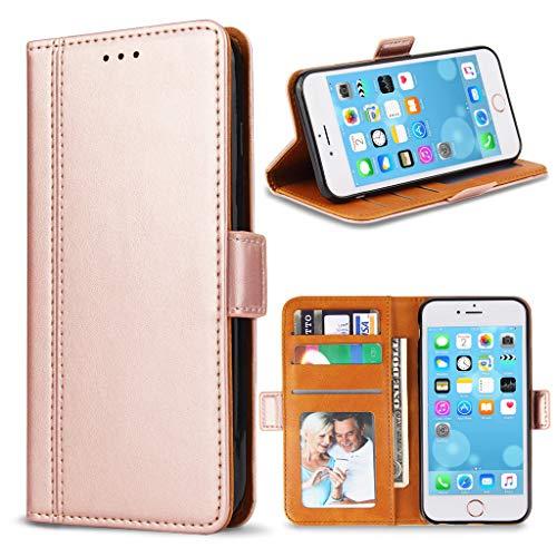 Bozon Handyhülle für iPhone 6/ 6S, Lederhülle mit Kartenfächer, Schutzhülle mit Standfunktion, Klapphülle Tasche für Apple iPhone 6/ 6S (Rose Gold)