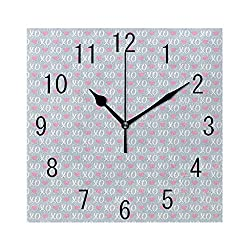 Square Wall Clock Battery Operated Quartz Analog Quiet Desk 8 Inch Clock, Valentines Day Concept Modern Era Xo Messages on Olive Three Branches Background