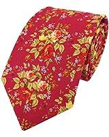 Men's Necktie Self Tie Rose Flower Floral Printed Pattern Cotton Tie, Red
