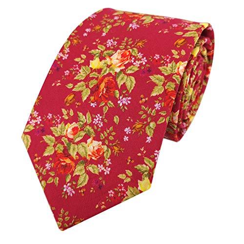 Herren-Krawatte zum Selbstbinden, Rosenblütenmuster, Baumwoll-Krawatte - Rot - Standard