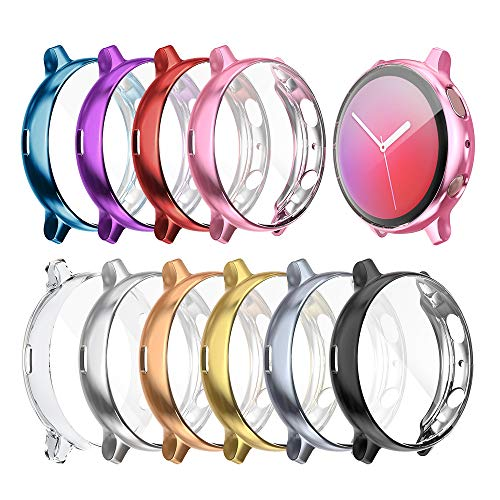 Case Compatible with Galaxy Watch Active 2 Full Cover Case Screen Protector Soft Plated TPU Scratch Resistant Slim Cover for Galaxy Watch Active 2 40mm 44mm (10-Pack, 40mm)
