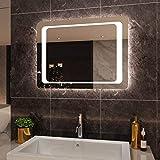 SIRHONA 80x60cm Miroir de Salle de Bains avec éclairage à LED Mirror Cosmetic Applique Murale pour éclairage Illumination avec Capteur de Contrôle/Anti-buée