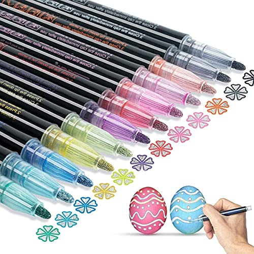 Double Line Outline Pen Markers: AKARUED 12 Colors Self Outline Metallic Marker for Gift Cards, Scrapbook Crafts, DIY Photo Album, Easter Eggs, Glitter Doodle Dazzle Super Squiggles Shimmer Marker Set