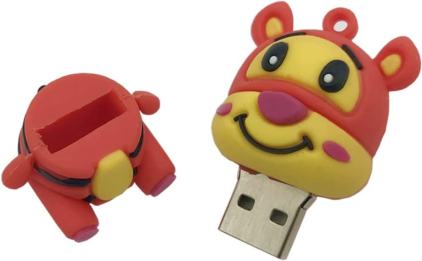 Novelty Tigger Shape Design 16GB USB 2.0 Flash Drive Cute Memory Stick Stitch Thumb Drive Data Storage Pendrive Cartoon Jump Drive Gift