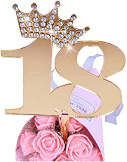 YUINYO Crown Gold Glitter Happy Birthday Cake topper - Forever 18 Party Favors - 18th Birthday Party Decoration-18th Anniversary Party Decoration quality acrylic Gold