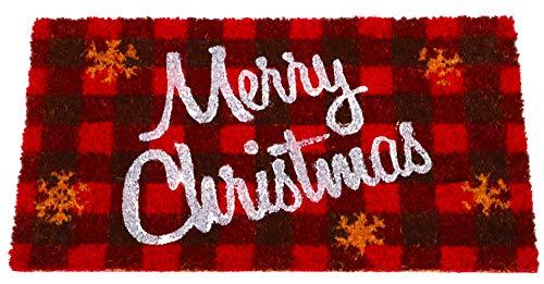 """Toyland® Seasonal Red Tartan Frohe Weihnachten Coir-Fußmatte 66 cm x 35 cm (26""""x 14"""")"""