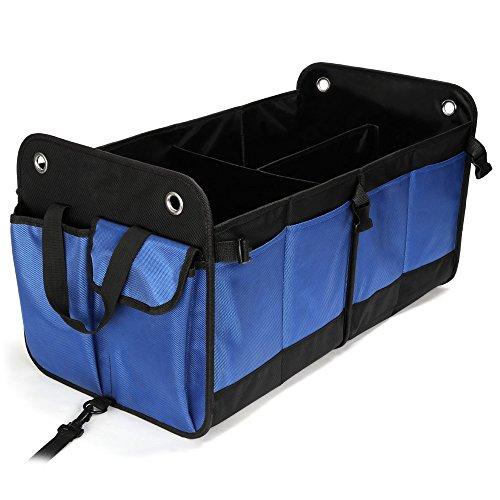 Cookjoy Organizador Maletero Coche duraderos, Plegables Impermeables Bolsa para Maletero de Coche Caja Plegable de Almacenamiento Compartimentos Ajustables, Organizadora camión, SUV (Azul y Negro)
