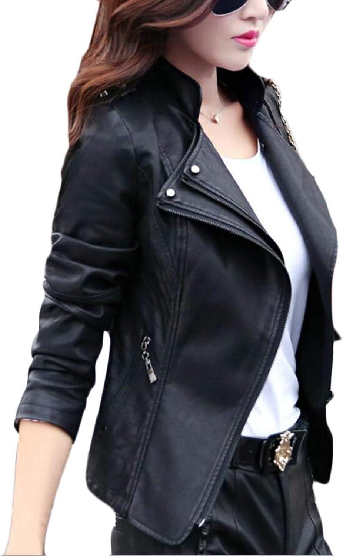 Generic Women's Zipper Motorcycle Biker Faux Leather Slim Fit Short Coat Jackets