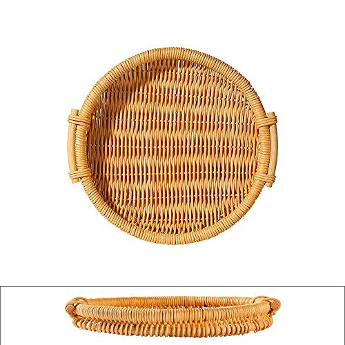 JCXOZ Natural Wicker Fruit Basket Bread Basket Tray Storage Basket Willow Woven Fruit Basket Bread Serving Basket, Round Shallow Basket (Color : Yellow)
