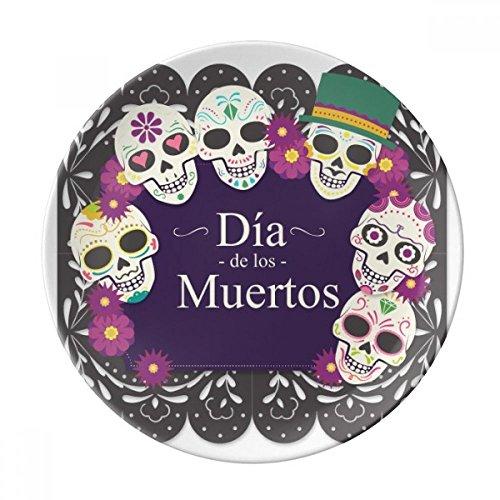 Plato de postre de porcelana decorativo, diseño de calavera el día de los muertos, 20 cm