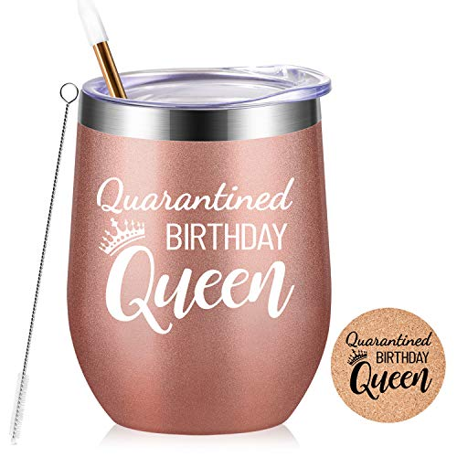 Quarantined Birthday Queen - Funny Social Distancing Gifts for Women, Mom, Wife, Aunt, Grandma, Friends, Sister,Coworkers - 21st 30th 40th 50th Quarantine Birthday Gifts,Insulated Tumbler,12 oz