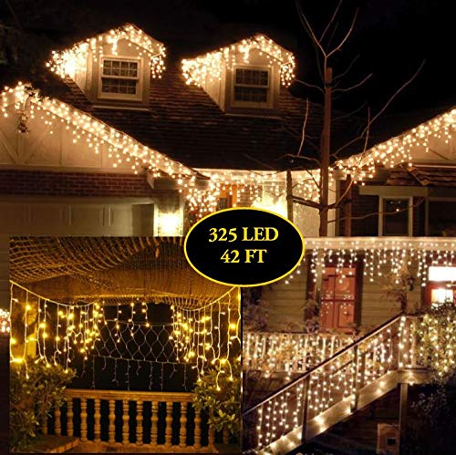 Outdoor Curtain String Light 32 Ft + 10 Ft 325 LED String lights Wave Ripple Pattern Extra Long Wedding Party Home Garden Bedroom Indoor Outdoor Wall Decorations Warm White light curtain by BestCircle