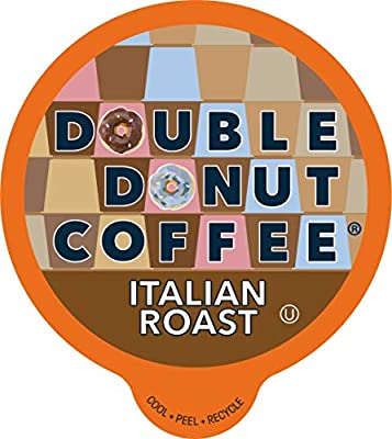 Double Donut Coffee Pods, Italian Roast, Fresh Dark Roast Coffee in Single-Serve Capsules for Keurig K Cups Coffee Machines, 24 Count