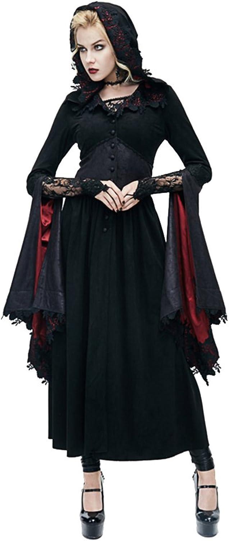 Punk Womens Witch Long Dress Batwing Sleeve Gothic Hoodies Dress Coats Priestess Lace Dress Black