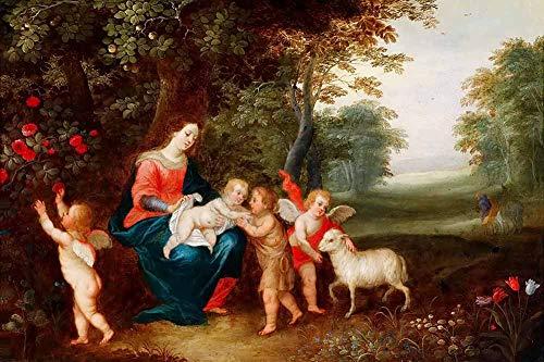 JH Lacrocon Jan Brueghel el Joven - La Virgen Niño Niño San Juan Bautista Reproducción Cuadro sobre Lienzo Enrollado 60X40 cm - Pinturas Religioso Impresións Decoración Muro