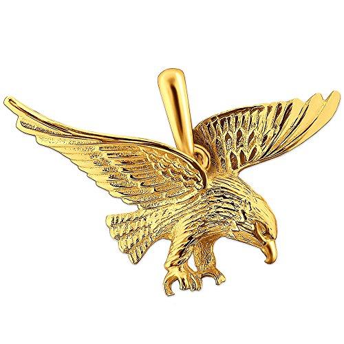 CLEVER SCHMUCK Goldener Herren Anhänger großer Adler 36 x 21 mm fliegend glänzend 333 Gold 8 Karat