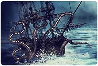 InterestPrint Pirate Ship Catched by Octopus Tentacles Doormat Non-Slip Indoor and Outdoor Door Mat Rug Home Decor, Entran...