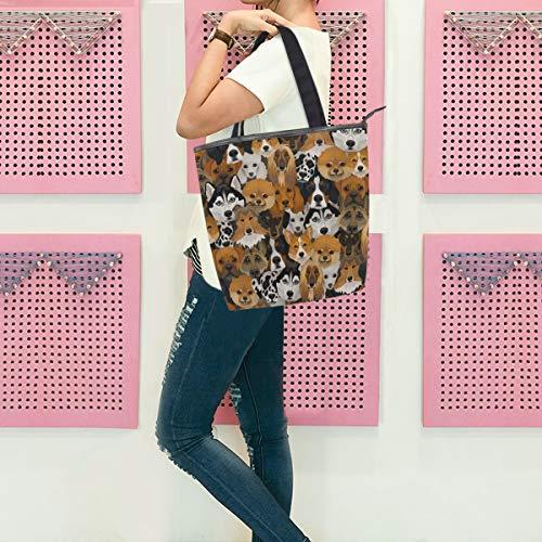 Gigijy Handtasche mit Hundemuster, groß für Damen, Schultertasche, Reißverschluss, Einkaufstasche für Damen, mit Tragegriff