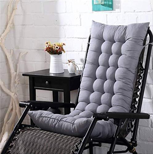 N/D Cojín Largo sólido para Silla reclinable Mecedora de Mimbre Plegable de jardín Grueso Cojín de Asiento para salón de Sol Sofá Tatami 48x125 cm Gris