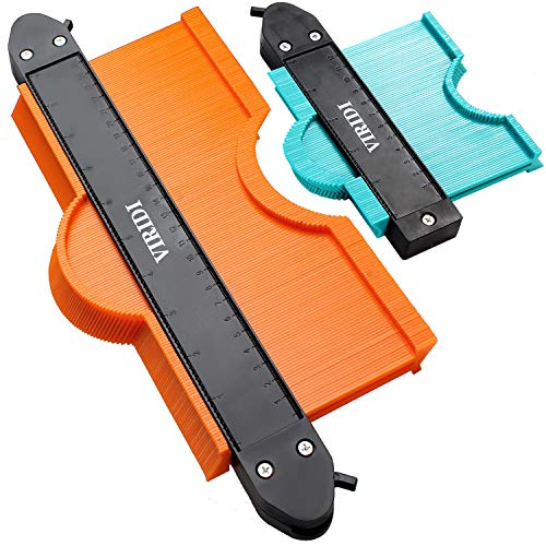 Contour Gauge With Lock, 2pcs 5&10 inch Profile Gauge Smart Measure Ruler Contour Duplicator Carpenter Tool for Vinyl Cutter Plank Install - Instant Template Instrument for Measuring and Cutting Wood