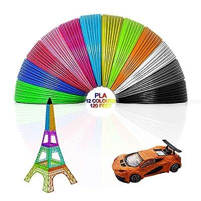 3D Pen/3D Printer Filament, 3D Pen Filament Refills 1.75mm PLA Filament Pack of 12, High-Precision Diameter Filament, 3D Printing Pen Filament for Intelligent 3D Pen, Each Color 10 Feet Total 120 Feet
