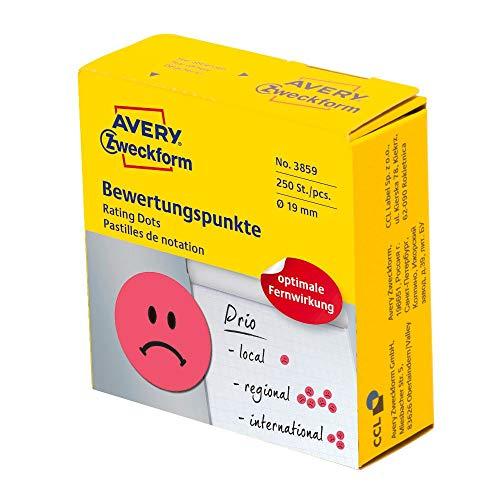 AVERY Zweckform 3859 selbstklebende Klebepunkte 250 Stück (negative Bewertungspunkte auf Rolle im Spender, Ø 19mm, Aufkleber trauriges Gesicht, Sticker zum Abstimmen, Bewerten und Kennzeichnen) rot