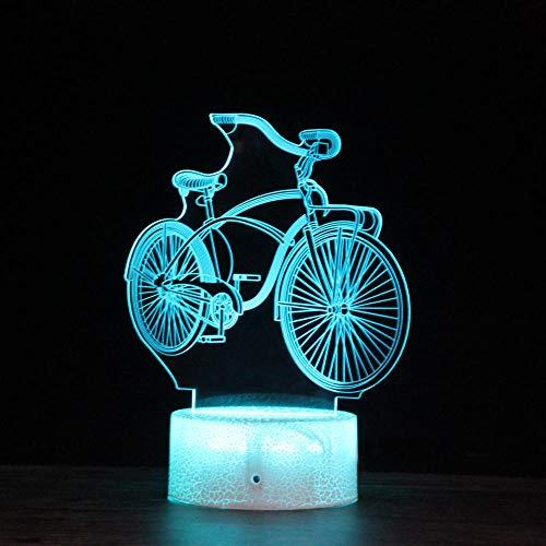 Serie de bicicletas 3d luz de noche luz de regalo led fuente de alimentación usb colorida lámpara de mesa de control remoto regalo de vacaciones de cumpleaños-Base agrietada: táctil_ZM017547