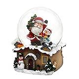 Dekohelden24 Bola de Nieve con Papá Noel, Dimensiones (Largo x Ancho x Alto): 7 x 7 x 9 cm, Bola de 6,5 cm de diámetro.