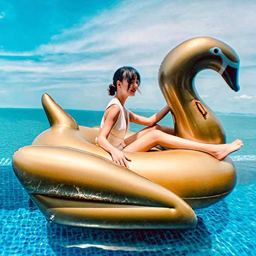 SHJR Large Golden Flamingo Inflatable Pool Float, Swimming Pool Lounger, Inflatable Rafts with Electric Pump, Adults & Kids, 190x190 cm